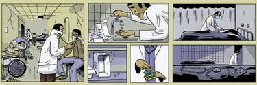 Illustrations: a doctor tries to work in an overcrowded hospital, without the right material and running water