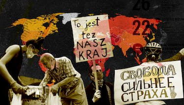 Collage showing a map of the world in yellow and red on a black background, with protest signs layered over it